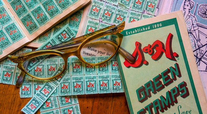 Conceptual – collage of S&H Green Stamps and 1950's style eyeglasses