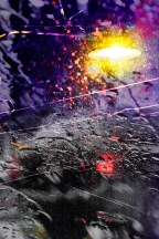 Abstract – wet street objects distorted by rain
