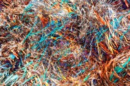 Abstract – ribbons of colorful metal scrap - fart
