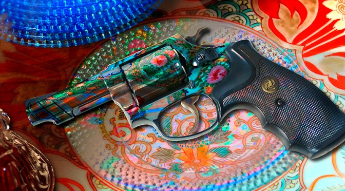 Conceptual – revolver with flower pattern and dish ware