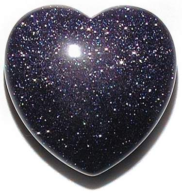 Carved Blue Goldstone Heart Paperweights Puffy Gemstone