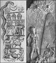 Sumerian Shamash (Sun), Sin (Moon) and Ishtar (Venus) hover over the mountain.