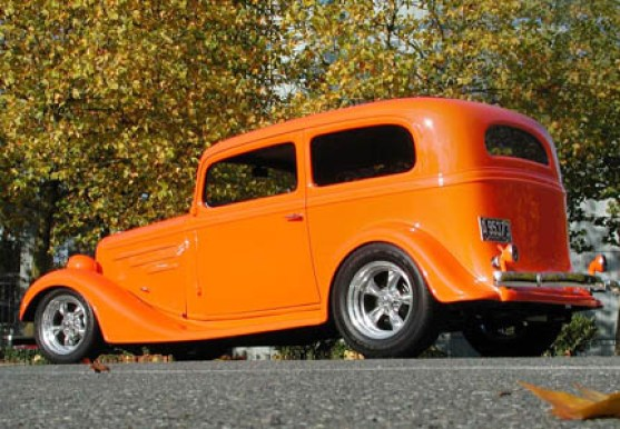"Bill Buxton Seattle, WA '35 Chevy 350 Engine with T350 Transmission and Phoenix Transmission's 2200 Stall Converter Heidts Super Ride Suspension with 8"" Ford Rearend and 15x6 and 17x8 Torque Thrust II Wheels."