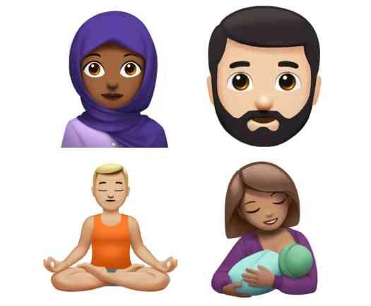 Apple new emoji hijab, beard, yoga, breastfeeding
