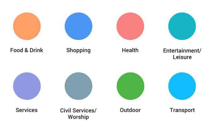 Google Maps new points of interest colors