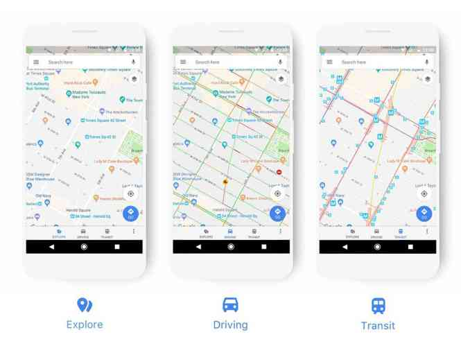 Google Maps updated user interface