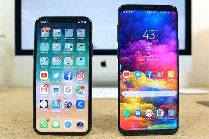 iPhone X Samsung Galaxy S9 comparison