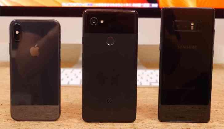 Apple iPhone X, Google Pixel 2 XL, Samsung Galaxy Note 8 comparison