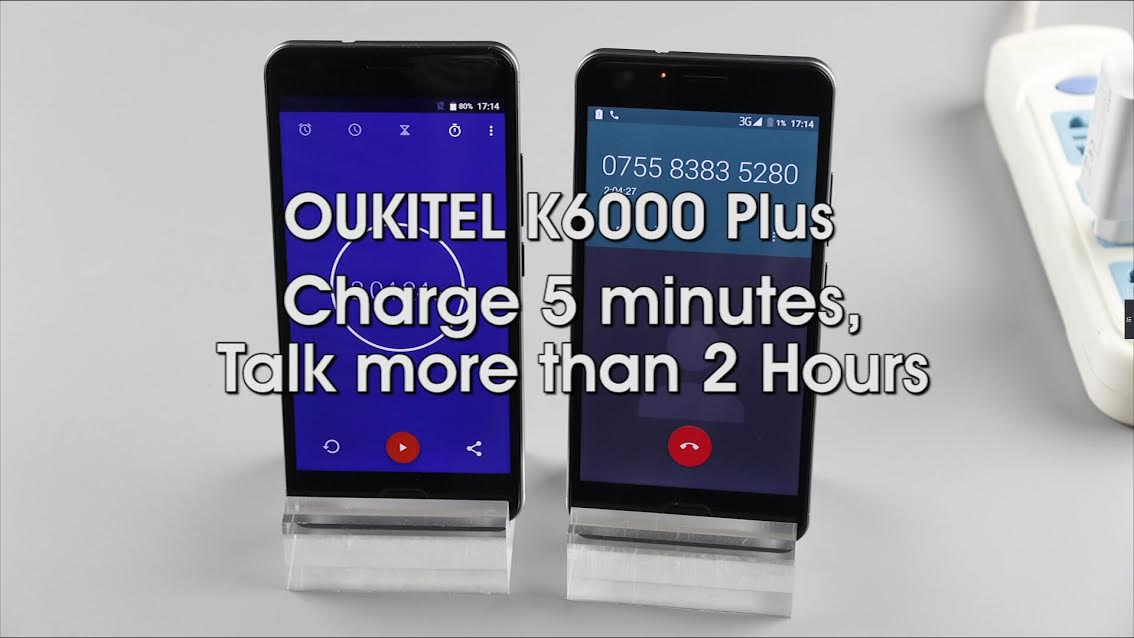 Oukitel K6000 Plus : 5mn de charge pour 2h d'appel