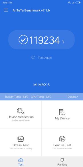 Test Antutu du Xiaomi MI Max 3