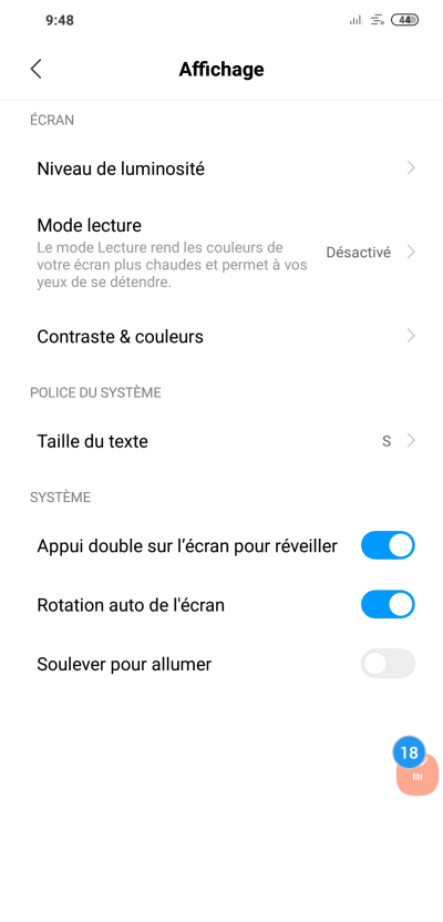 "Activation du ""Double tap"""