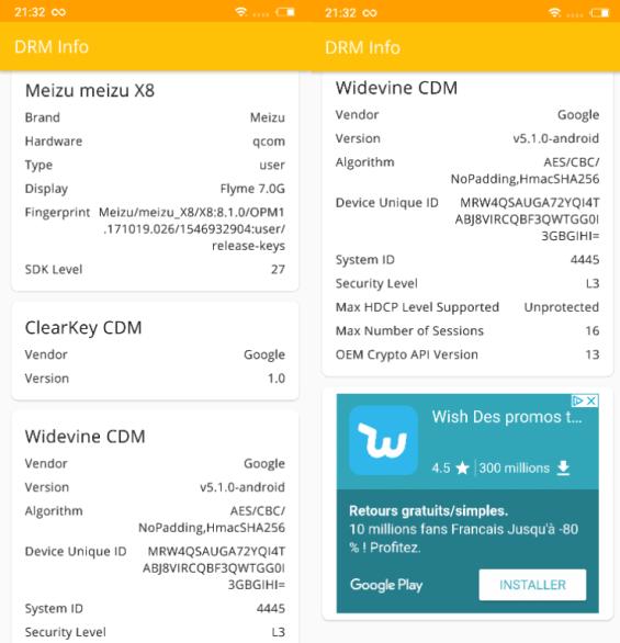 DRM info Widevine