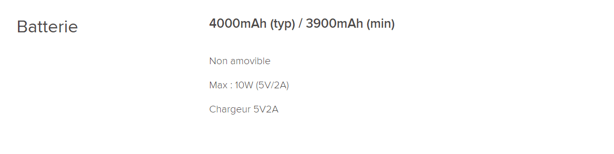 Caractéristiques de la batterie du Redmi 7