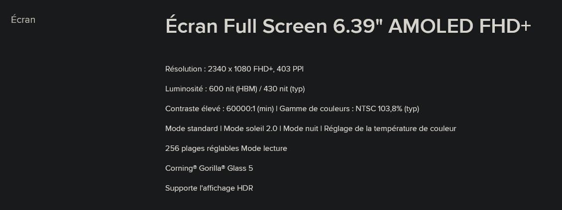 MI9 T caractéristiques de l'écran