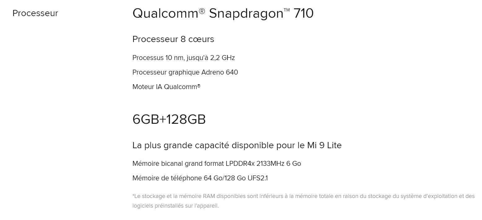 MI 9 Lite - Snapdragon 710 caractéristiques
