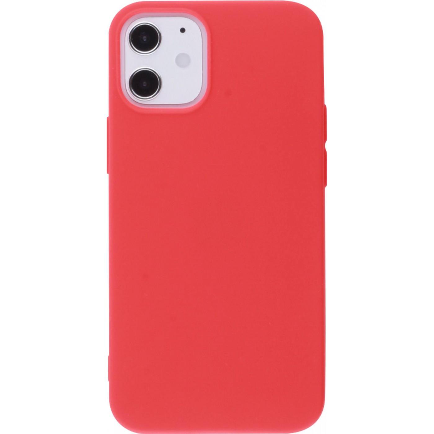 coque iphone 12 mini silicone mat rouge