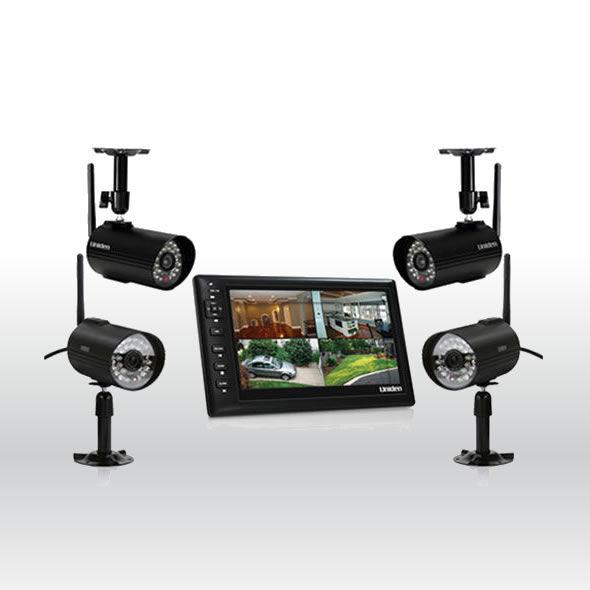 Uniden UDS655 Wireless Surveillance Record System w 4 UDSC15 CAMERA & 7 Monitor bg