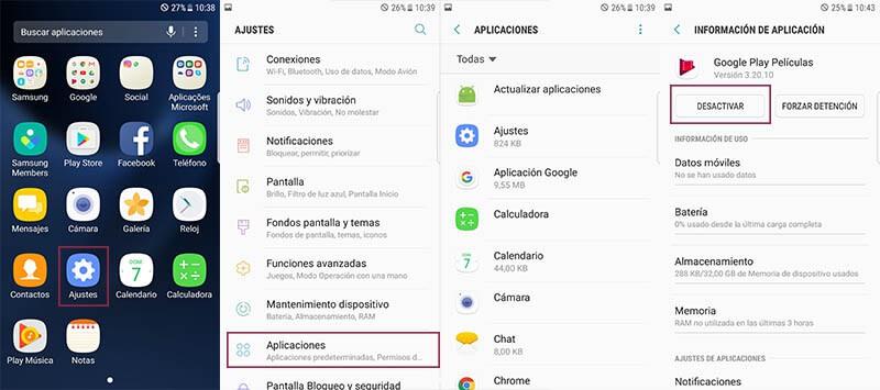 Memoria RAM desactiva apps preinstaladas