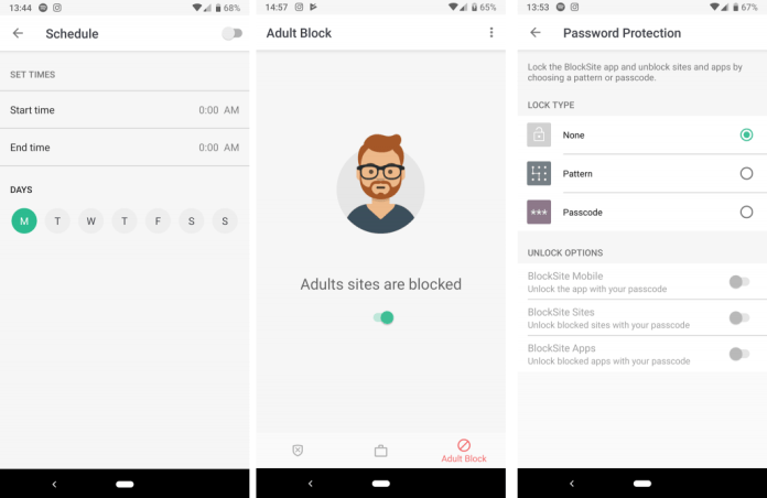 Adult Block Feature in BlockSite app