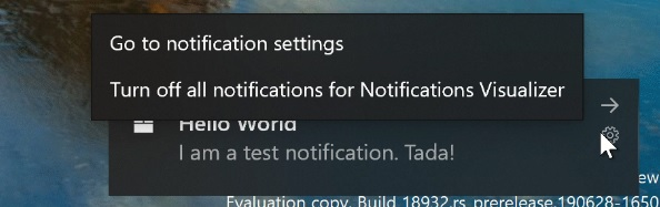 Notification toast