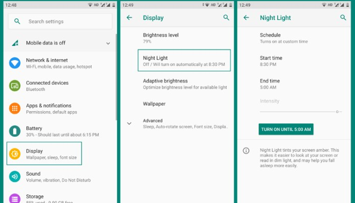 night mode android settings