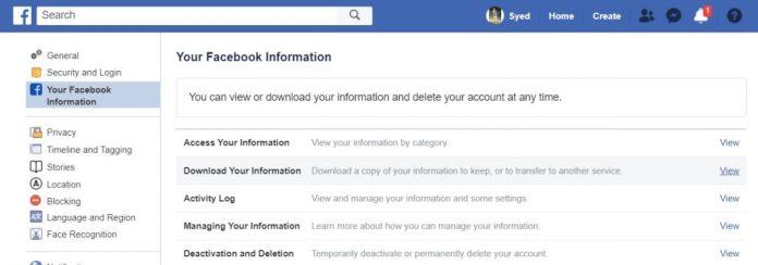 download facebook info