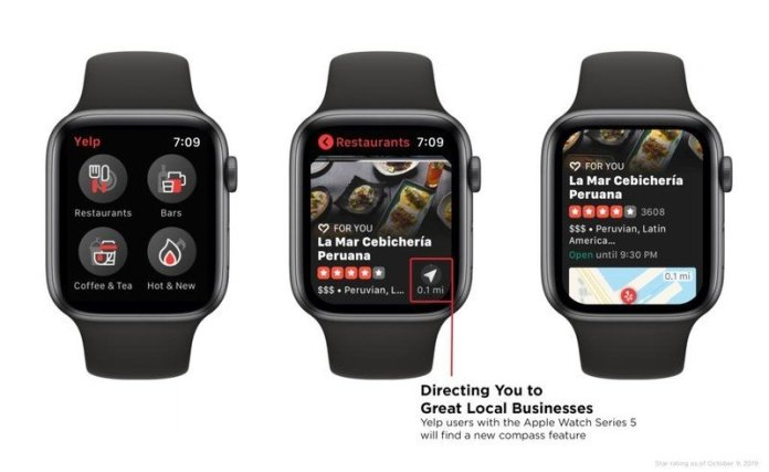 Yelp's new Apple Watch app