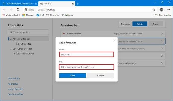 Microsoft Edge edit favorite information