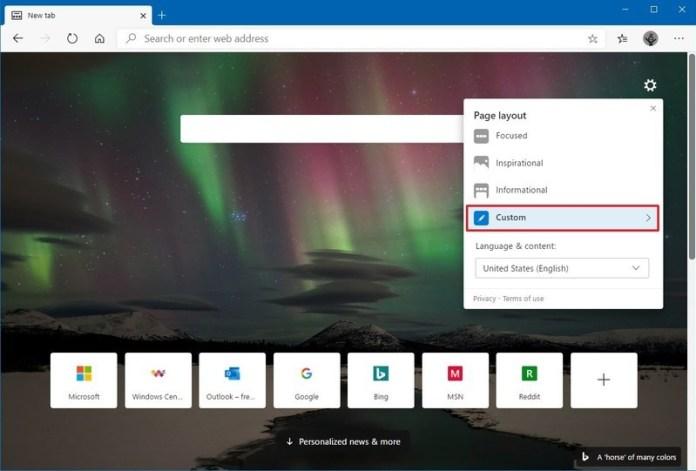Microsoft Edge new tab custom option