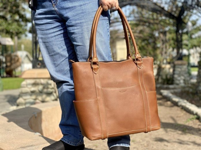 Pad Quill Leather Laptop Tote Carry Hand