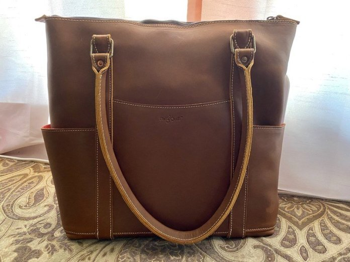 Pad Quill Leather Laptop Tote Front