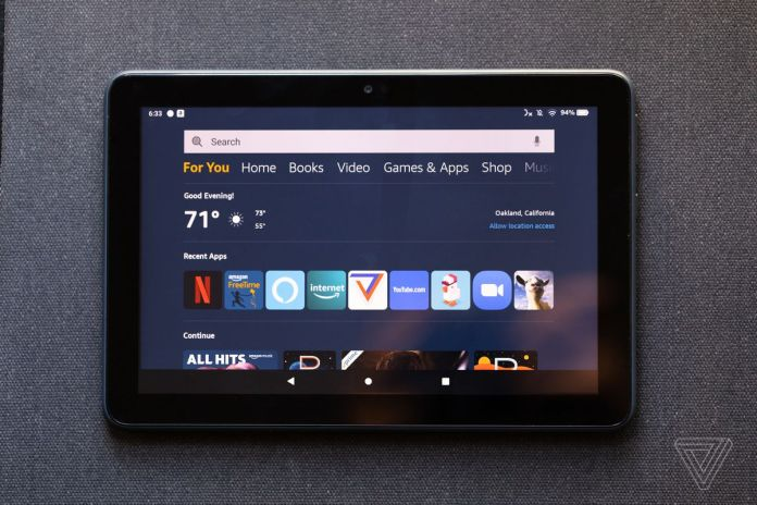 The Fire HD's home screen has tabs for all of Amazon's services