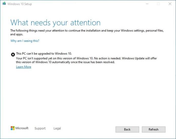 Windows 10 Update Assistant block