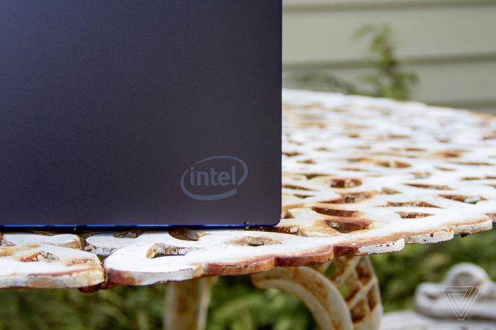 A corner of the lid of Intel's Tiger Lake reference design, showing the Intel logo.