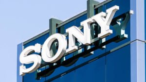 Sony (SNE) logo on the side of a building at its offices in Silicon Valley.