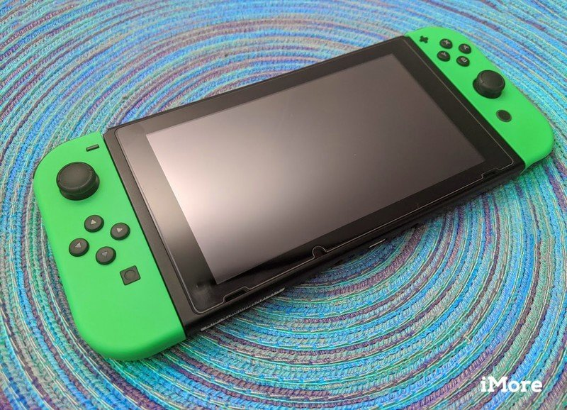 Nintendo Switch Console on blue background