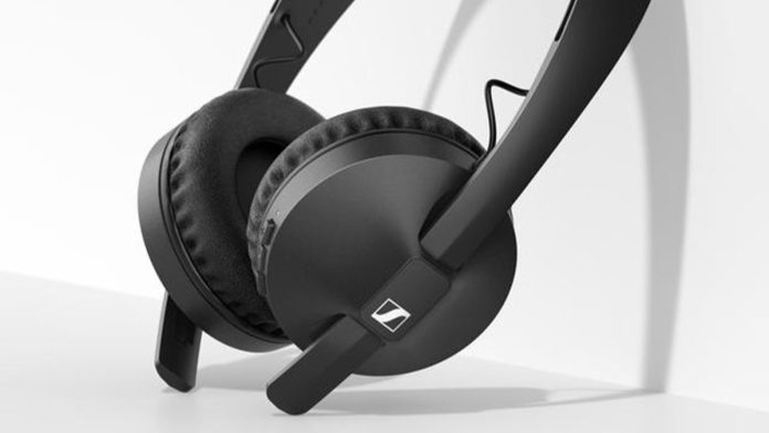 The Sennheiser HD 250BT on-ear wireless headphones in black rest against a white surface.