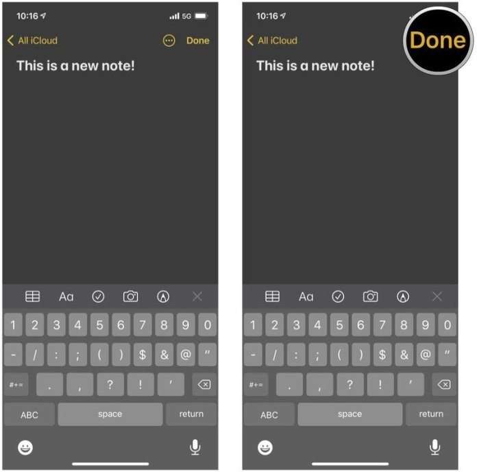 How to create a new note on iPhone and iPad by showing steps: Type your note, then tap Done to save