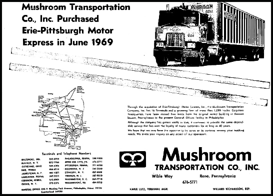 A Mushroom Transportation Co, Inc. advertisement highlights its purchase of  Erie-Pittsburgh Motor Express in 1969.