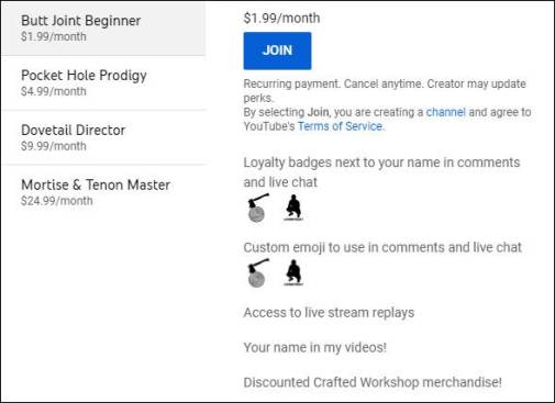 youtube membership perks