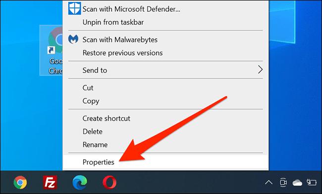Right-click menu for a desktop icon