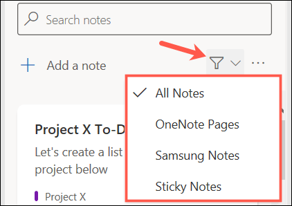 Filter your OneNote feed