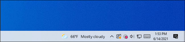 The blurry News and Interests widget on Windows 10's taskbar.