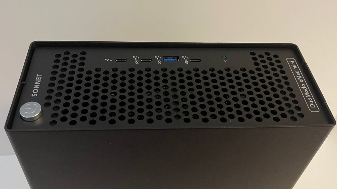 The front of the xMac mini Module includes a pass-through Thunderbolt 3 connection.