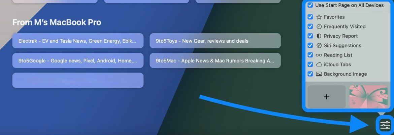 How Safari in macOS Monterey works - walkthrough customize start page