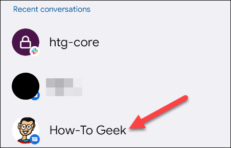 Select a conversation for the widget.