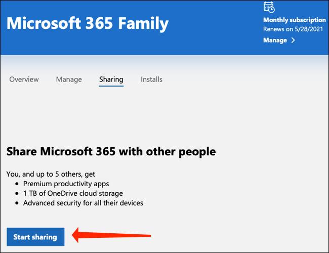 """Click """"Start sharing"""" to begin adding people to your Microsoft 365 family plan."""