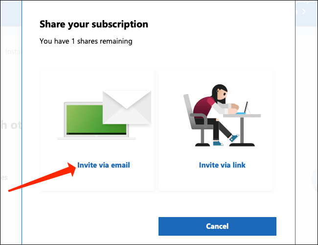 """Click """"Invite via email"""" to send an email invitation to your Microsoft 365 family."""