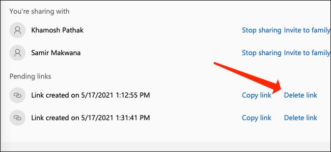 """Click """"Delete link"""" to remove the invite link."""