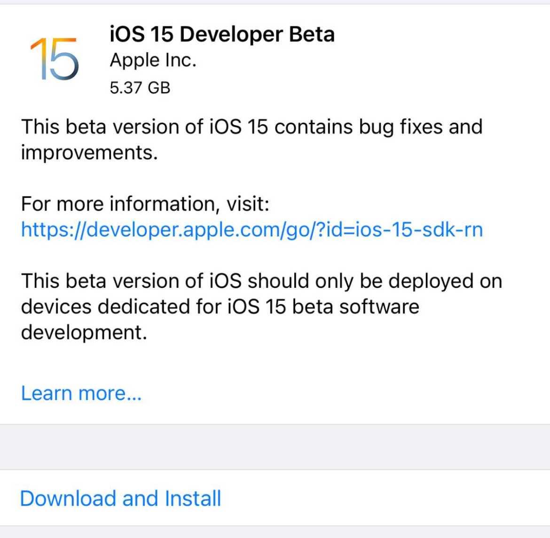 iOS 15 install beta